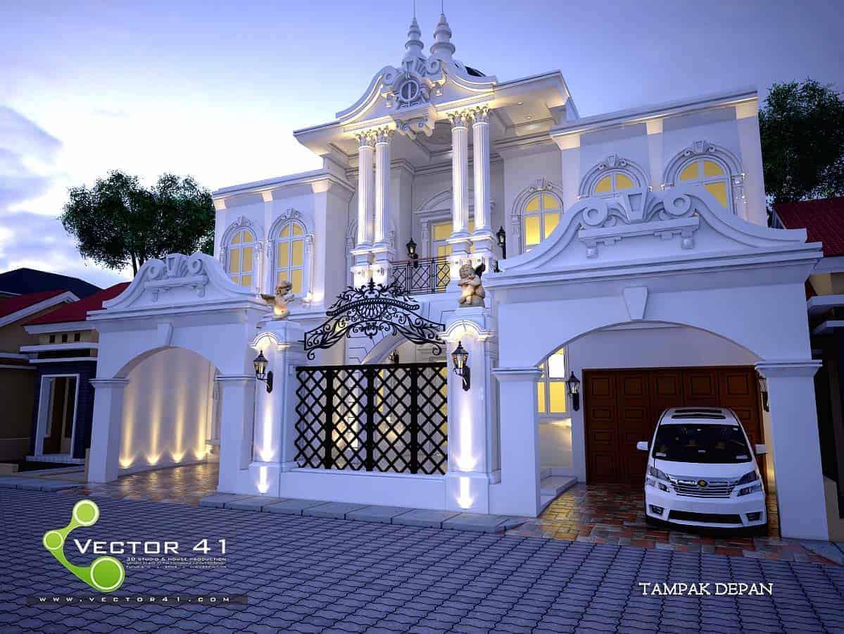 Desain Rumah Klasik Modern Arsitek Medan V41 Gambar