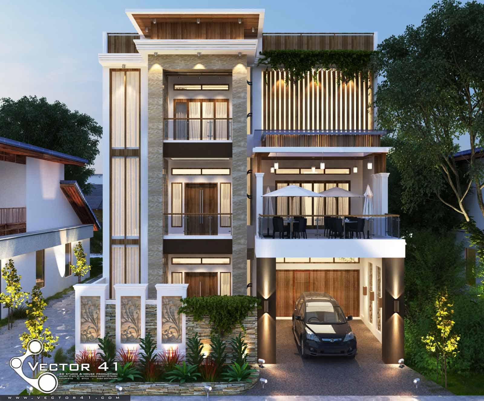 Desain Rumah 3 Lantai Mr. Fitri - MEDAN | VECTOR 41 ARSITEK