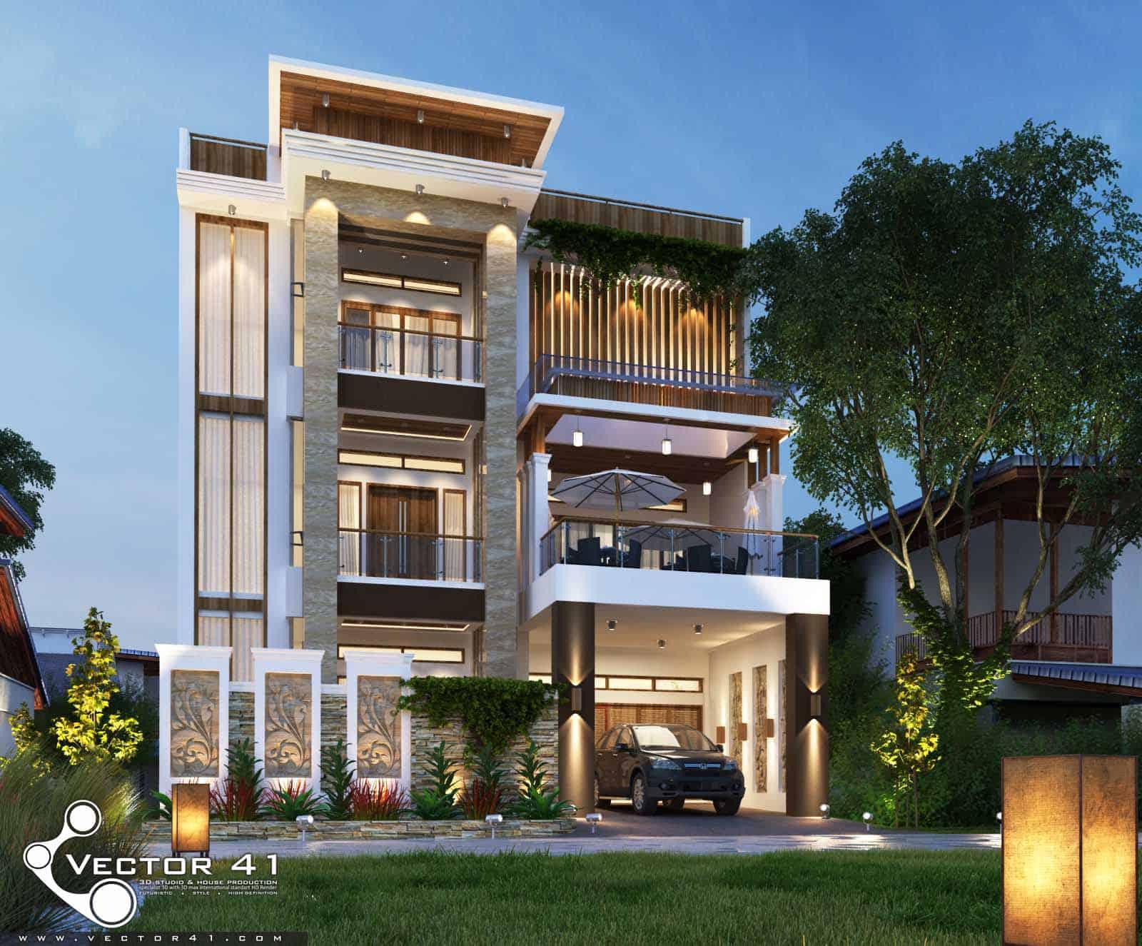 Desain Rumah 3 Lantai Mr. Fitri - MEDAN   VECTOR 41 ARSITEK