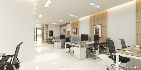 Desain interior ruang kantor open space PT Pertamina MOR 1 Medan