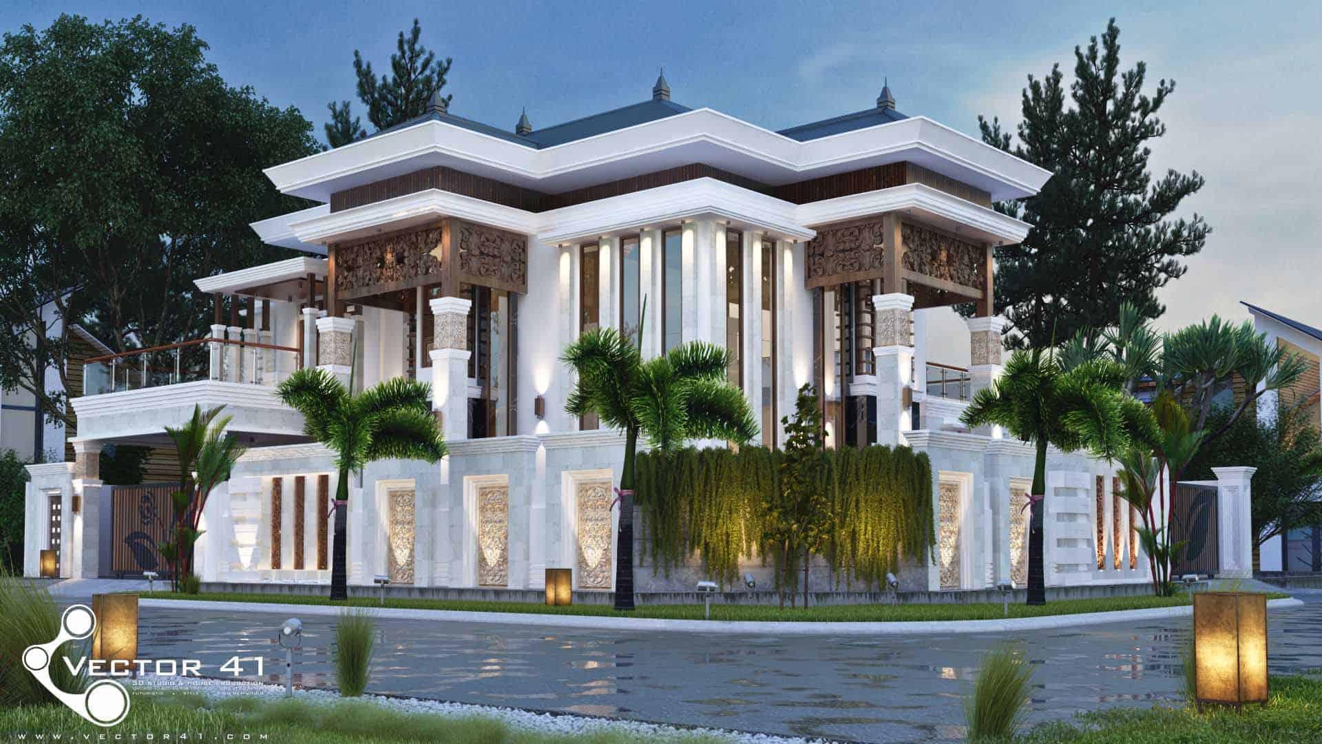 Desain Villa Tropis Mr Firman Medan