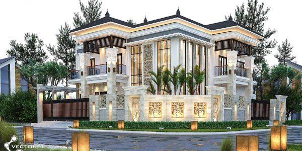 Desain rumah mewah model tropis 2 lantai bpk. Adiel di Medan By.Jasa Arsitek Medan Vector 41
