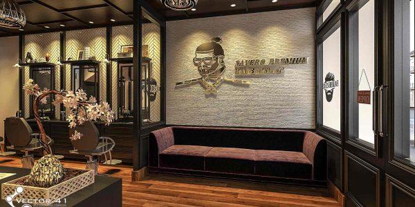 desain interior sofa barbershop bapak hendy medan