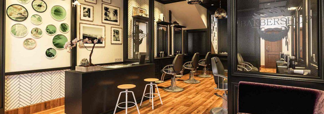 desain interior barbershop bapak hendy medan
