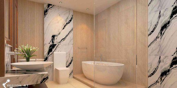 desain interior toilet bathtub bapak bambang palembang