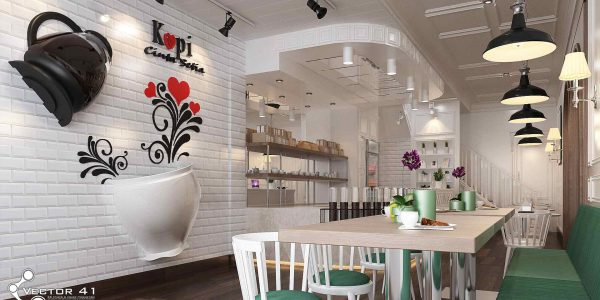 desain interior cafe bapak bran medan