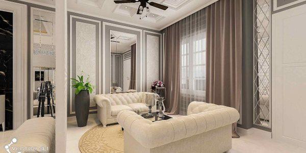 desain interior sofa ruang tamu ibu ayu medan