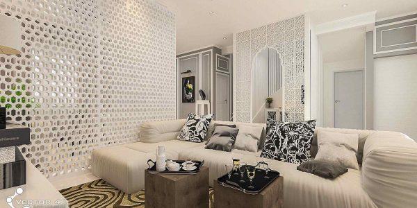 desain interior ruang keluarga ibu ayu medan